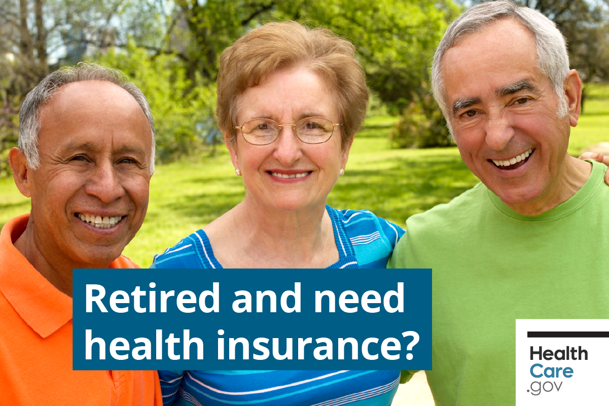 Image: { Friends happy about their retiree health insurance}