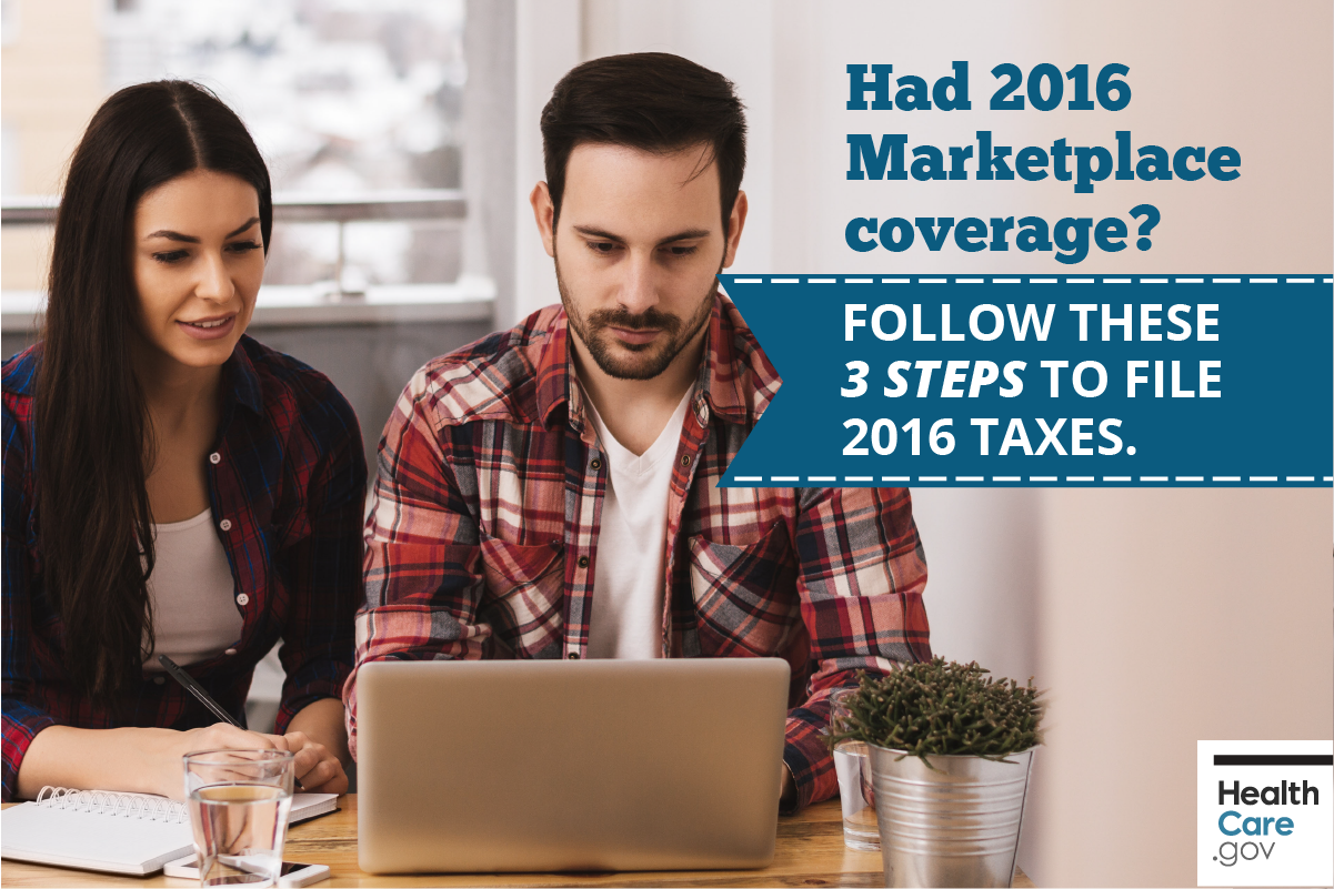 Image: {Couple filing taxes using 3 tips for Marketplace health insurance and 2016 taxes}