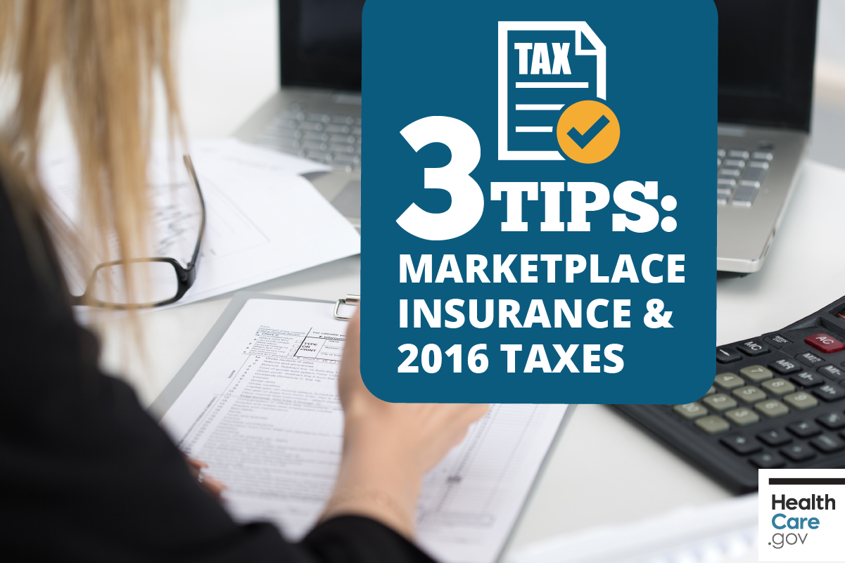 Image: {Woman filing taxes using 3 tips for Marketplace health insurance and 2016 taxes}