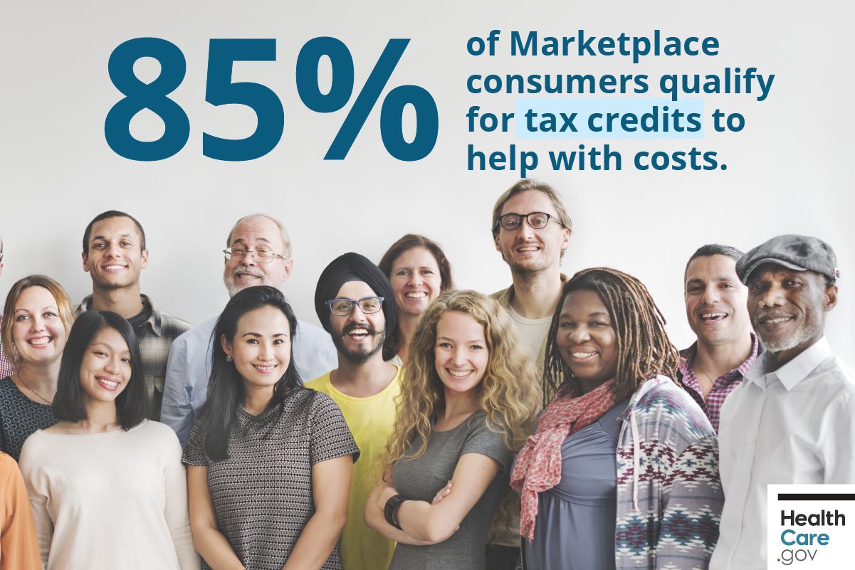 Image: Group of people saving on health insurance costs with tax credit