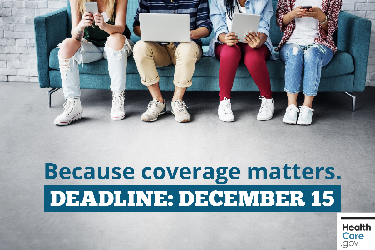 Image: Reminder to sign up for or update your current plan by December 15 deadline