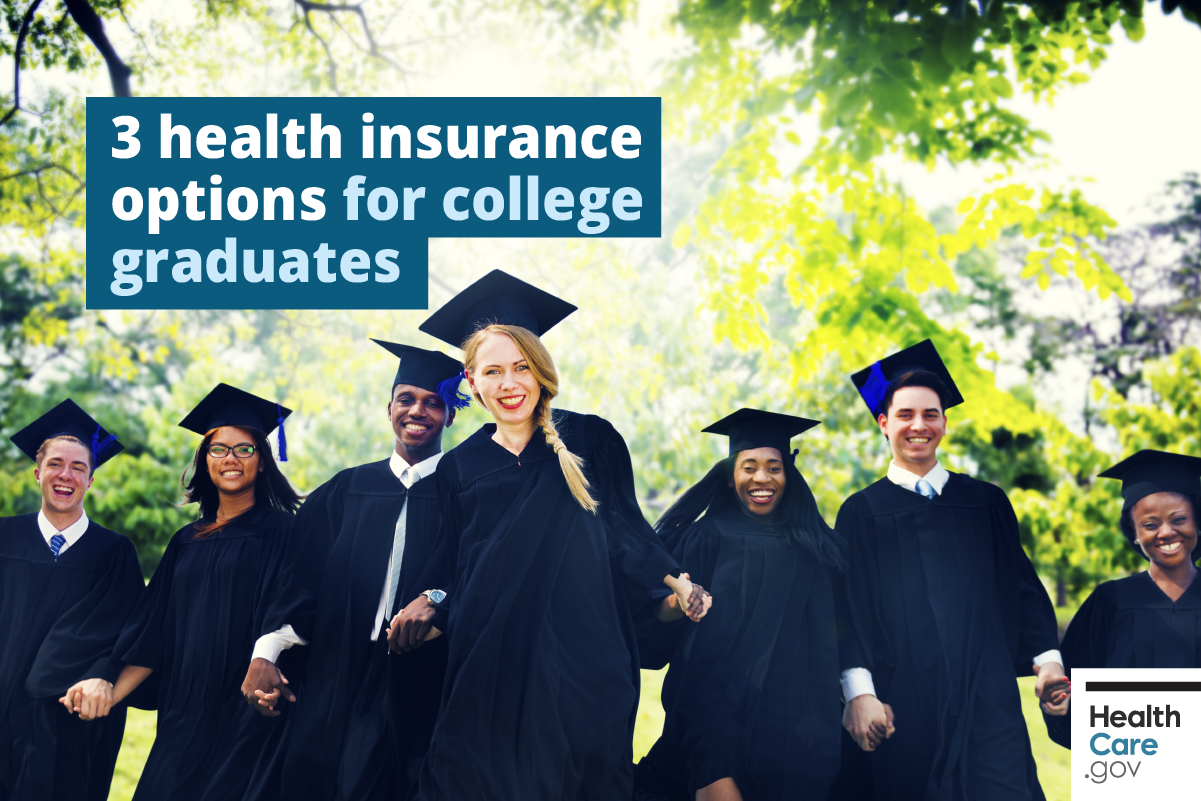 Image: {College graduates celebrate health insurance-options}