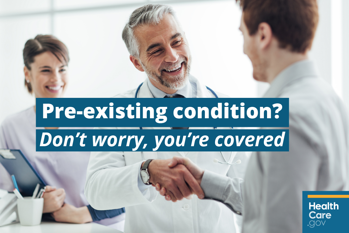 Image: Patient talking to doctor about treatment for pre-existing medical condition