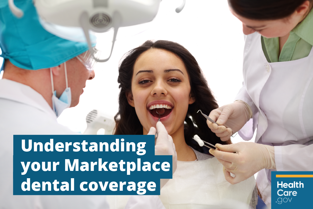 Image: {Woman using her Marketplace dental insurance}