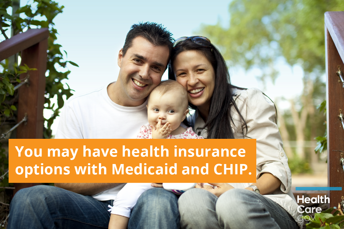 Image: {Family happy to have Medicaid or CHIP coverage from Obamacare}