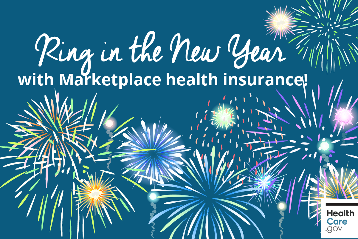 Image: {New Year fireworks celebrating enrolling in Marketplace health insurance}