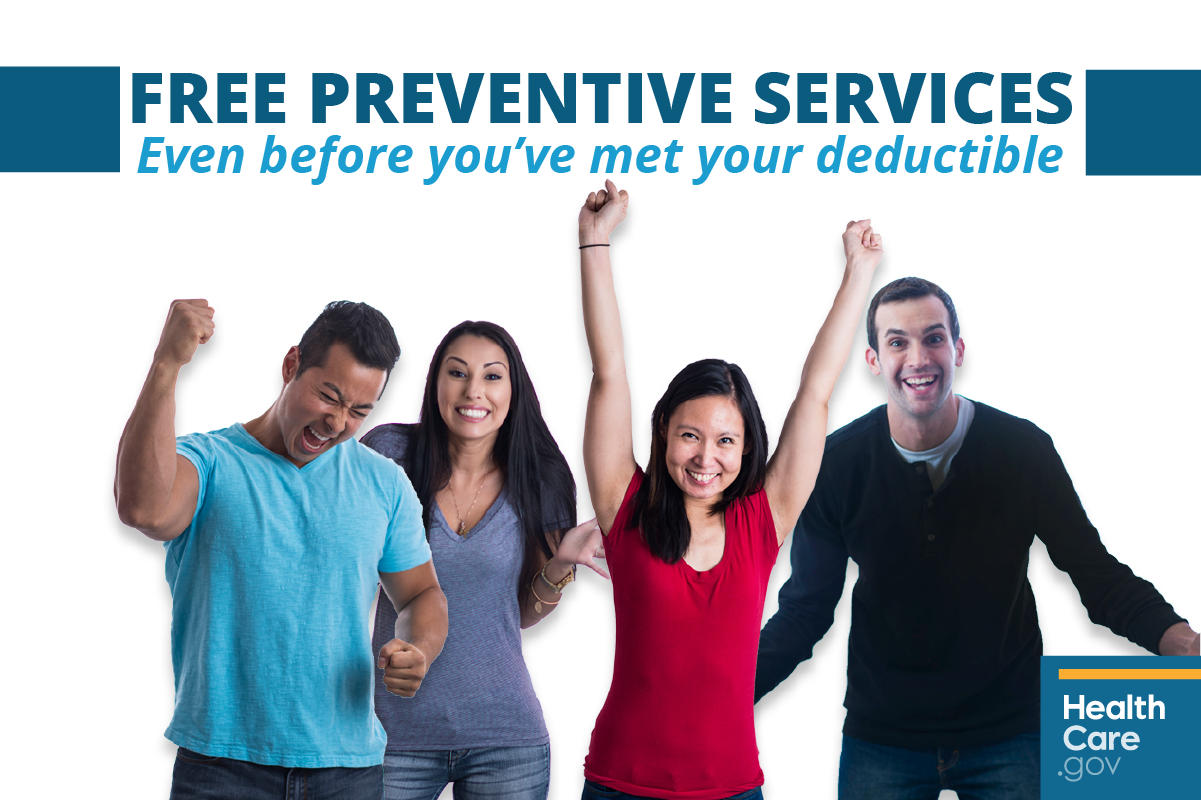 Image: {Friends celebrating free preventive health care }