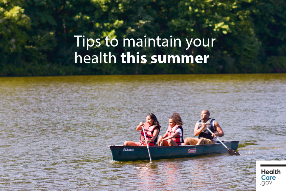 Image: {Family of three enjoys summertime by canoeing}
